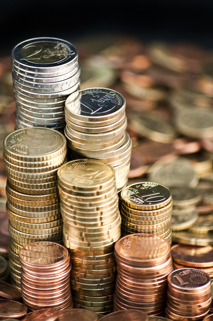 Euro currency coin columns